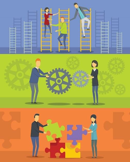 Hintergründe zur teambildung Premium Vektoren