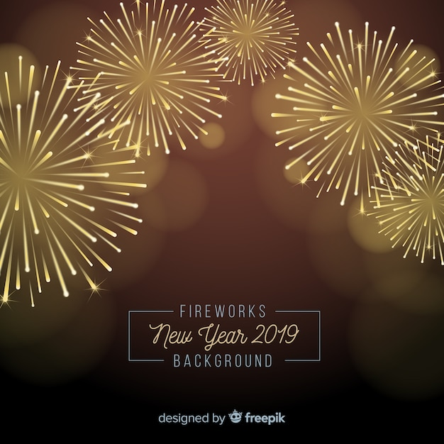 Hintergrund 2019 des neuen Jahres der Feuerwerke Kostenlose Vektoren