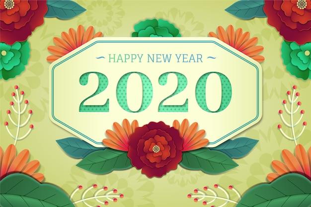 Hintergrund 2020 des neuen jahres in der papierart Kostenlosen Vektoren