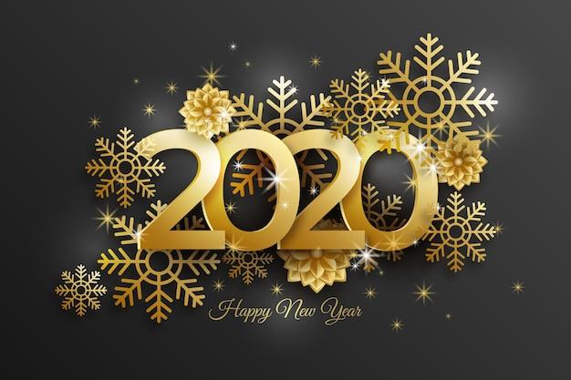 Hintergrund 2020 des neuen jahres mit realistischer goldener dekoration Kostenlosen Vektoren