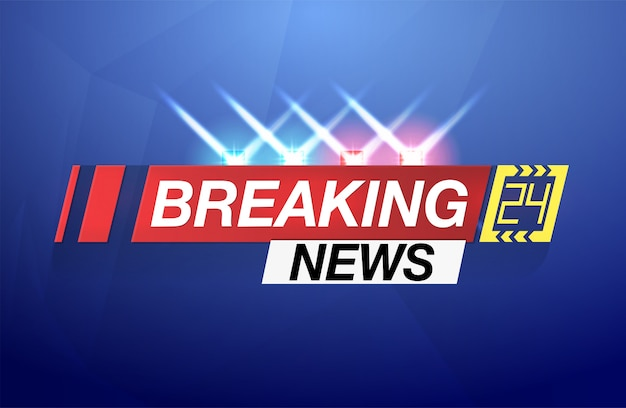 Hintergrund-bildschirmschoner auf aktuelle nachrichten. breaking news live auf weltkartenhintergrund. Premium Vektoren