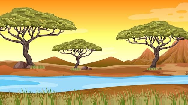 Hintergrund der afrikanischen waldlandschaft Kostenlosen Vektoren