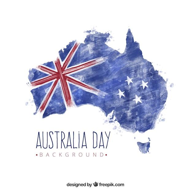 Hintergrund der australien-karte mit fahne in aquarell-stil Kostenlosen Vektoren