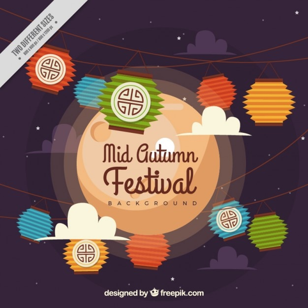 Hintergrund der dekorativen elemente mid-autumn festival Kostenlosen Vektoren