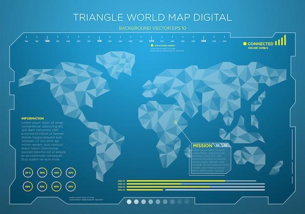 Hintergrund der digitalen schnittstelle der hightech-weltkarte Premium Vektoren