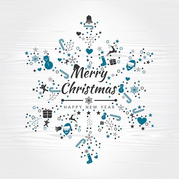 Hintergrund der frohen weihnachten mit elementschneeflocken Premium Vektoren