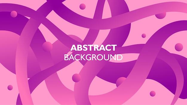 Hintergrund der gekrümmten linie mit kreisform mit rosa und purpurroter farbe Premium Vektoren