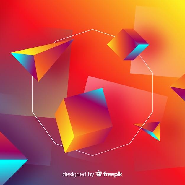 Hintergrund der geometrischen formen 3d Kostenlosen Vektoren
