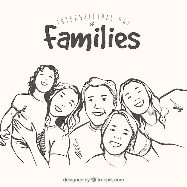 Hintergrund der glücklichen Familie in handgezeichneten Stil Kostenlose Vektoren
