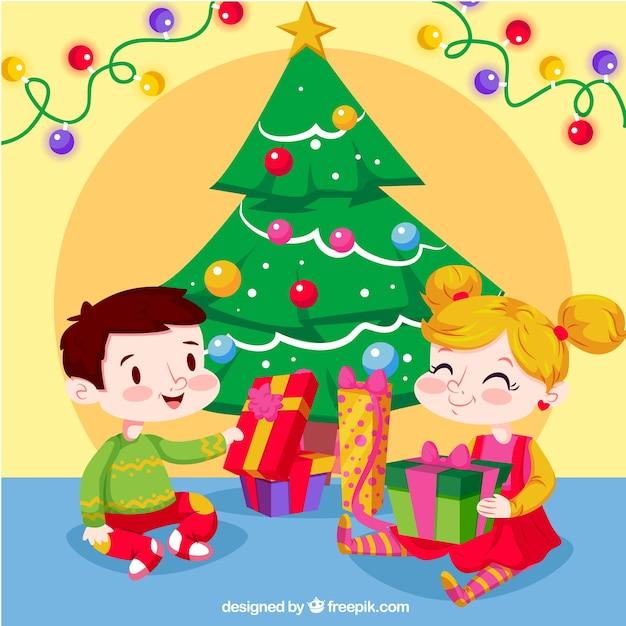Die Weihnachtsgeschenke.Hintergrund Der Glücklichen Kinder Die Weihnachtsgeschenke öffnen