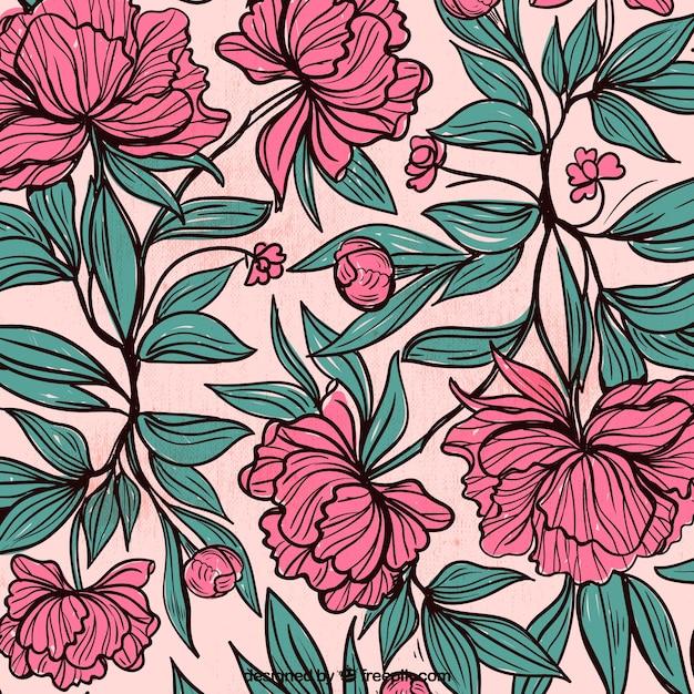 Hintergrund der Hand gezeichneten Blumen und Blätter Kostenlose Vektoren