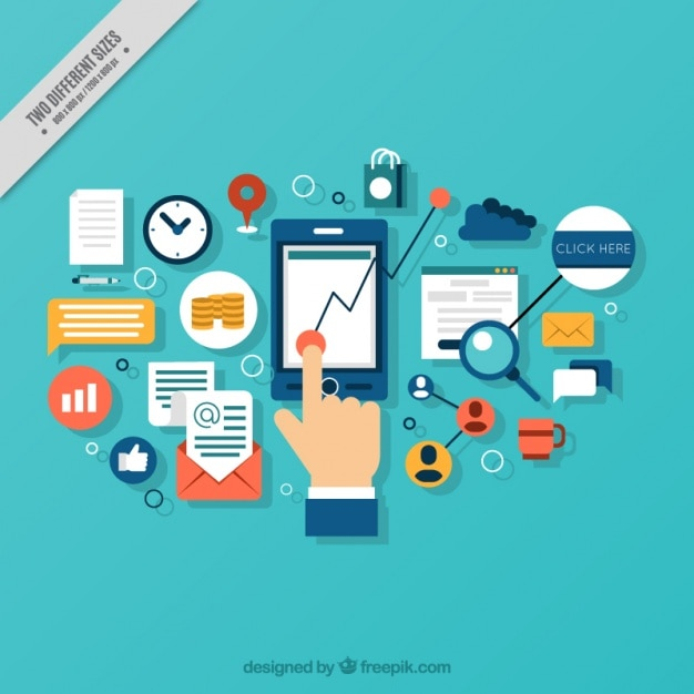 Hintergrund der hand mit mobilen und digitalen elementen Kostenlosen Vektoren