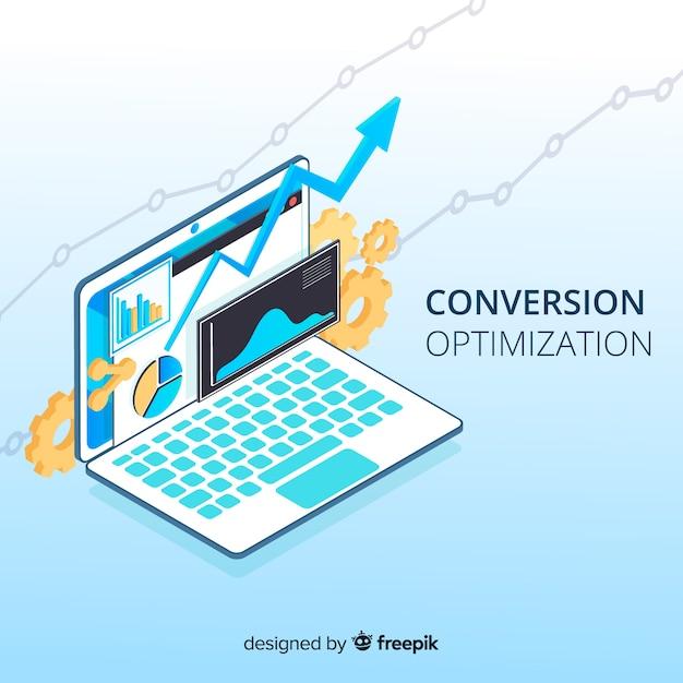 Hintergrund der isometrischen marketingoptimierung Kostenlosen Vektoren