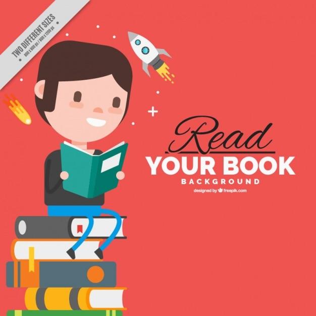 Hintergrund der Junge sitzt auf einem Stapel Bücher in flaches Design Kostenlose Vektoren