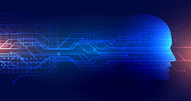 Hintergrund der künstlichen intelligenz der technologie mit gesicht Kostenlosen Vektoren