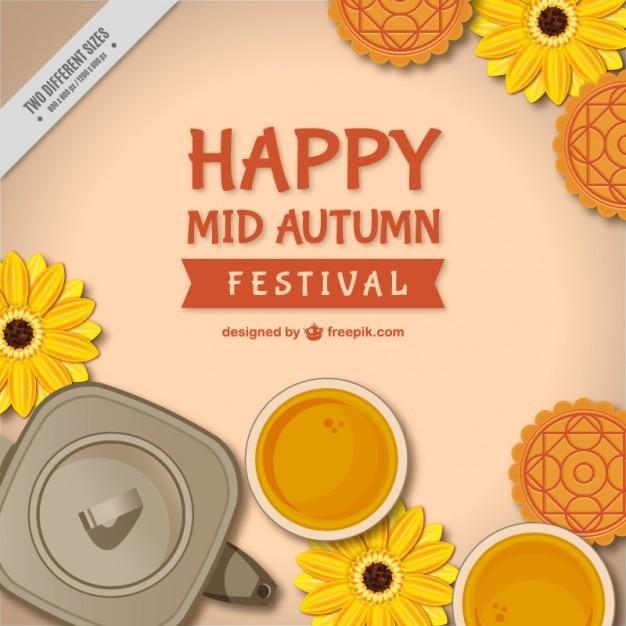 Hintergrund der mid-autumn festival mit blumen und teekanne Kostenlosen Vektoren