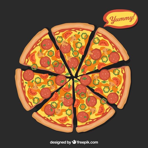 Hintergrund der pizza mit käse und salami Kostenlosen Vektoren