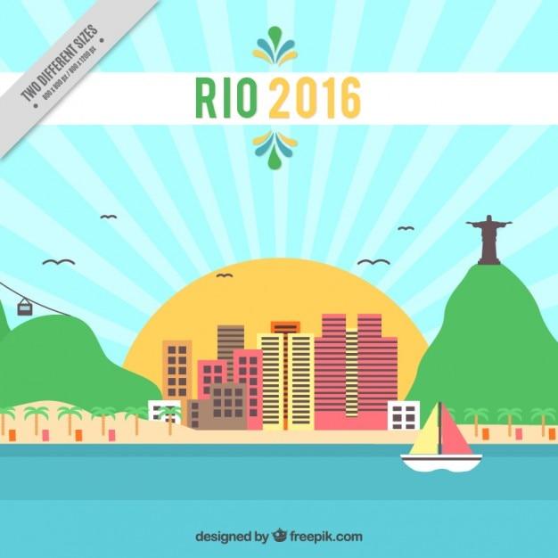 Hintergrund der rio 2016 mit landschaft Kostenlosen Vektoren
