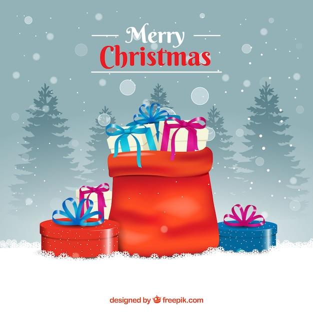 Weihnachtsgeschenke Sack.Hintergrund Der Sack Voller Weihnachtsgeschenke Download Der