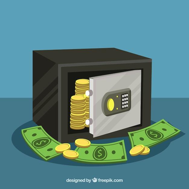 Hintergrund der sicheren mit münzen und banknoten Kostenlosen Vektoren