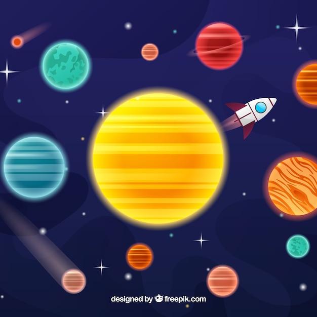 Hintergrund der sonne mit planeten um und rakete Kostenlosen Vektoren