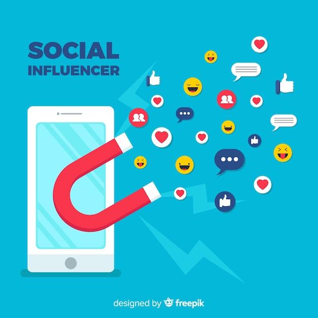 Hintergrund der sozialen influencer Kostenlosen Vektoren