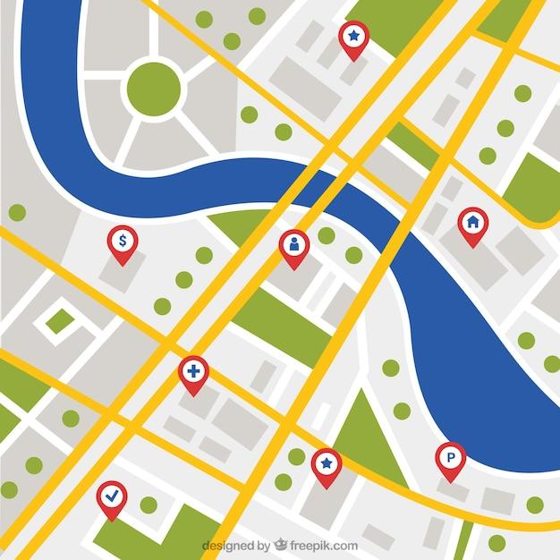 Hintergrund der stadtplan mit fluss Kostenlosen Vektoren