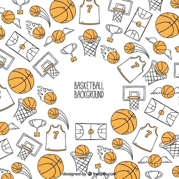 Hintergrund der von hand gezeichneten basketball zubehör Kostenlosen Vektoren