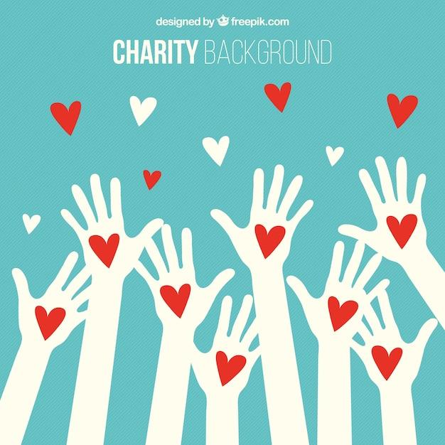 Hintergrund der weißen Hände mit roten Herzen Kostenlose Vektoren