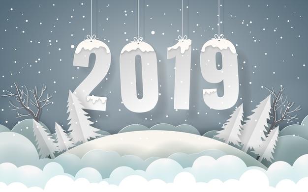 Hintergrund der wintersaison frohes neues jahr Premium Vektoren