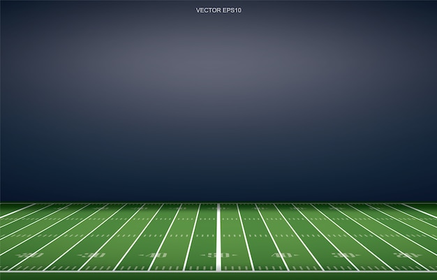 Hintergrund des amerikanischen fußballstadions mit perspektivischem linienmuster der rasenfläche Premium Vektoren