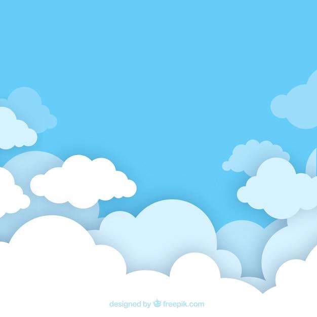 Hintergrund des bewölkten himmels in der flachen art Premium Vektoren