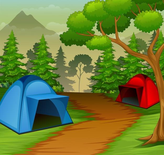 Hintergrund des campingplatzes in der natur Premium Vektoren