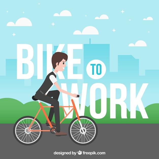 Hintergrund des jungen auf fahrrad zu arbeiten Kostenlosen Vektoren