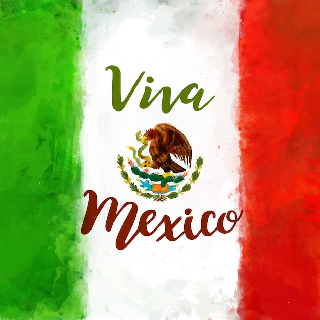 Hintergrund des mexikanischen unabhängigkeitstags des aquarells Kostenlosen Vektoren