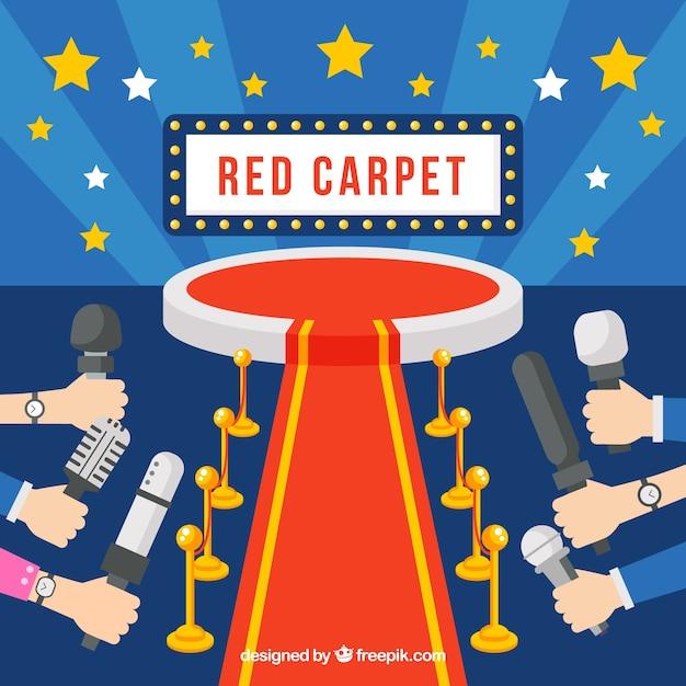 Hintergrund des roten teppichs in der flachen art Kostenlosen Vektoren