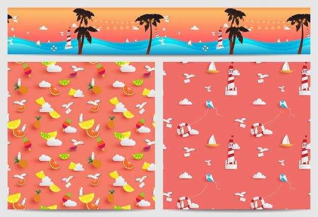 Hintergrund des sommers, der in quadratischen und parallax-kacheln verziert ist, besteht aus papierhandwerkselementen Premium Vektoren