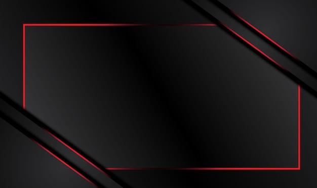 Hintergrund des technischen innovationskonzepts des abstrakten metallisch roten schwarzen rahmenlayoutdesigns. Premium Vektoren