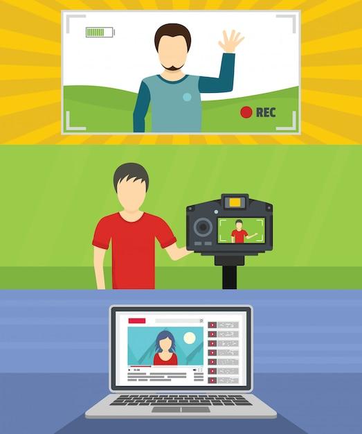 Hintergrund des videoblog-kanals Premium Vektoren