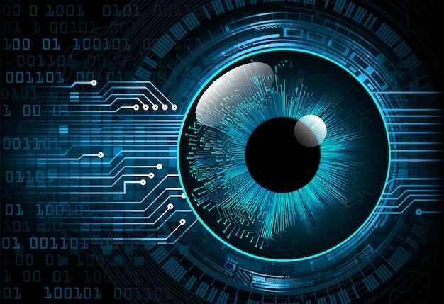 Hintergrund des zukünftigen technologiekonzepts der cyber-schaltung des blauen auges Premium Vektoren