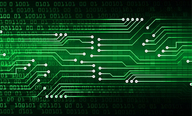 Hintergrund des zukünftigen technologiekonzepts der grünen cyberschaltung Premium Vektoren