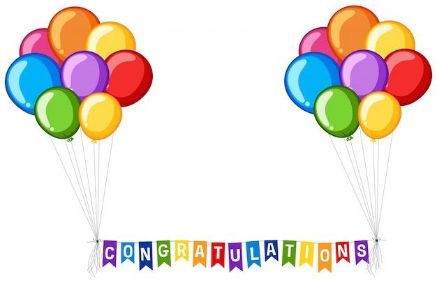 Hintergrund design mit ballons und wort glückwünsche Kostenlosen Vektoren