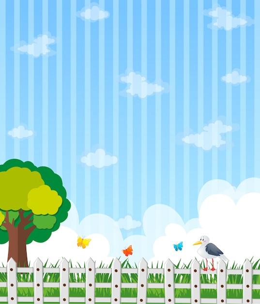 Hintergrund design mit garten und blauer himmel Kostenlosen Vektoren