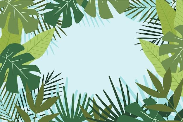 Hintergrund für zoom mit tropischen blättern Premium Vektoren