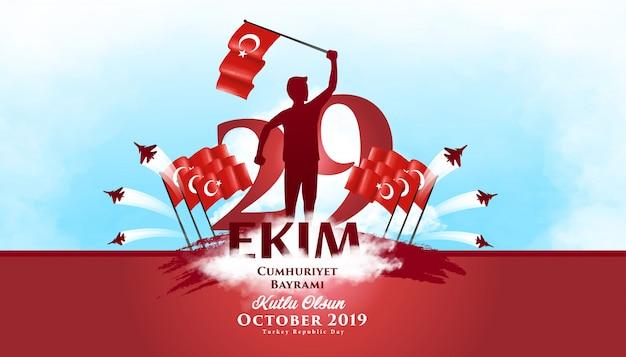 Hintergrund illustration der tag der republik-die türkei am 29. oktober Premium Vektoren