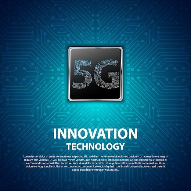 Hintergrund ist die 5g innovationstechnologie mit leiterplatte Premium Vektoren