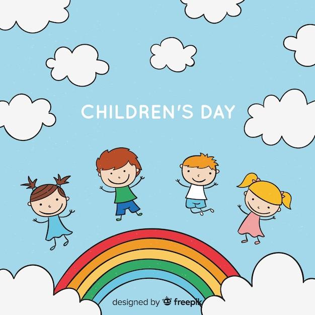 Hintergrund-Karikaturregenbogen der Kinder Tages Kostenlose Vektoren