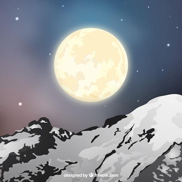 Hintergrund landschaft mit schneebedeckten berg und mond Kostenlosen Vektoren