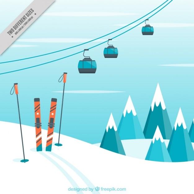 Hintergrund landschaft mit ski-zubehör Kostenlosen Vektoren
