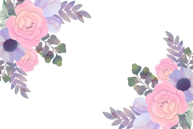 Hintergrund mit aquarellblumen in den pastellfarben Kostenlosen Vektoren